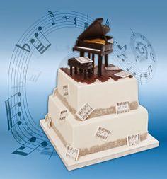 El Taller de Ara: Tarta Piano y galletas con nota musical.