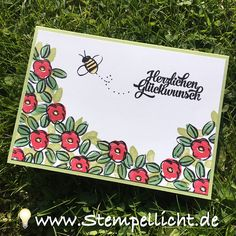 """Stempellicht: Blumige Karten mit """"Garden in Bloom"""" von Stampin'Up! Stampinup, Flower Patch, Flower Cards, Greeting Cards Handmade, Bloom 2016, Birthday Cards, Blog, Doodles, Homemade"""