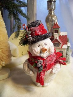 OOAK Sculpted Paper Mache Vintage Style Snowman. $60.00, via Etsy.