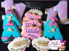 "Bohemian ""Wild One"" Boho Birthday Party Desserts — The Iced Sugar Cookie Mermaid Cookies, Unicorn Cookies, Chocolate Covered Pretzels, Chocolate Cookies, Hawaiian Cookies, Galaxy Cookies, Camping Cookies, Mickey Mouse Cookies, Boho Cake"