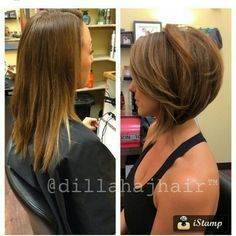 Awesome love this cut look at the volume added to fine limp hair! The post love this cut look at the volume added to fine limp hair! Short Haircuts 2014, Popular Haircuts, Bob Haircuts, Layered Haircuts, Cute Bob Hairstyles, Medium Bob Hairstyles, Hairstyles 2018, Stacked Bob Hairstyles, Daily Hairstyles
