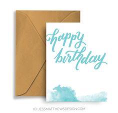 Alles Gute zum Geburtstag handgefertigte Grußkarte Hand Schrift Typografie…