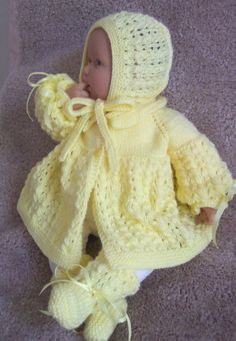 Custom handmade knit Yellow baby Sweater Bonnet cap hat