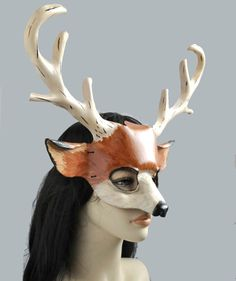 Stag, Deer Mask in Leather called Star Navigator by Hawk & Deer