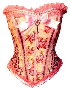Pink Leopard Rose Corset by kawaiiparlor on Etsy,- this company has SUCH AMAZING CORSETS! I'M PINNING THEM ALL!!