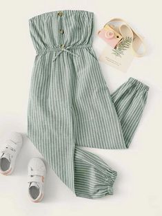 To find out about the Girls Button Front Striped Bandeau Jumpsuit at SHEIN, part of our latest Girls Jumpsuits ready to shop online today! Cute Comfy Outfits, Cute Girl Outfits, Cute Summer Outfits, Pretty Outfits, Stylish Outfits, Girls Fashion Clothes, Teen Fashion Outfits, Cute Fashion, Preteen Fashion