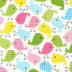This fabric is so cute I might pass out.   (Robert Kaufman Fabric Urban Zoologie Birds Spring Ann)