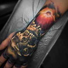 Horror Skull Tattoo Hand and Arm  - http://tattootodesign.com/horror-skull-tattoo-hand-and-arm/  |  #Tattoo, #Tattooed, #Tattoos