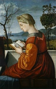 Vittore Carpaccio (Italian High Renaissance Painter, ca.1450-1525) Portrait of Woman Reading -Shoulder seam is interesting, and the back.