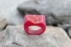 Druzy agate ring carved pink gemstone all stone chunky unique hand made us 6.5    eBay