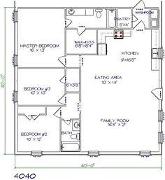 barndominium floor plan 3 bedroom 2 bathroom 40x40