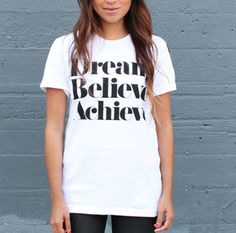 Image of DREAM BELIEVE ACHIEVE Tee© -White