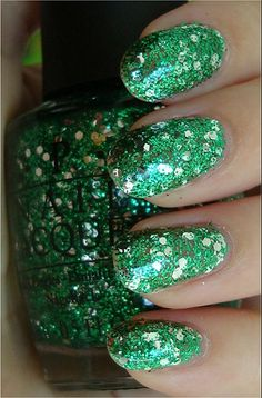 "opi muppets collection ""fresh frog of bel air"" - clear base with small green & large hexagonal silver glitter"