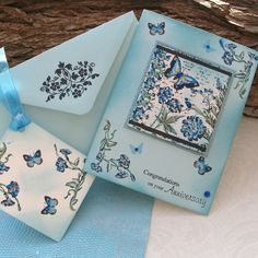 Anniversary Card & Gift Tag - Painted Butterfly Garden £2.75