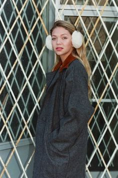Jessie in the Unisex Earmuffs, Vintage Eyewear, and Oversized Wool Coat by #AmericanApparel