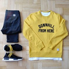 Outfitgrid - Carhartt pants / HUF tee & crewneck / adidas NMD x Pharrell shoes.