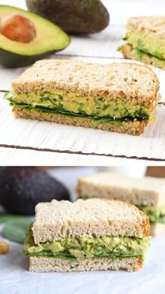 Smashed Chickpea Avocado Salad Sandwich is the perfect healthy lunch or dinner! This easy smashed chickpea sandwich can be eaten as a sandwich or served on greens, rice cakes, toast, or eaten as a dip … Salat Sandwich, Chickpea Sandwich, Veggie Sandwich, Avocado Tuna Sandwich, Rice Sandwich, Vegetable Sandwich Recipes, Lettuce Sandwich, Eggplant Sandwich, Vegan Recipes
