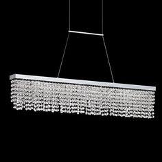 """Merania 39 1/2"""" Wide LED Beaded Crystal Island Pendant"""