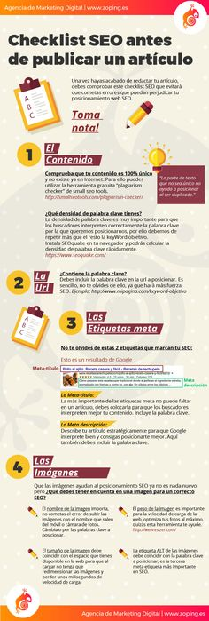 Checklist SEO antes de publicar un artículo. Infografía en español. #CommunityManager