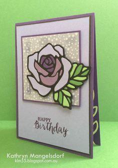 Stampin' Up! Rose Garden Thinlits, Rose Wonder, Stained Glass Technique, birthday card by Kathryn Mangelsdorf