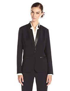 Lark & Ro Women's Single Button Faux Leather Trim Blazer, Navy, 4 Lark & Ro http://www.amazon.com/dp/B00WQQUCC2/ref=cm_sw_r_pi_dp_daHawb1C5VYW8