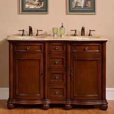 Silkroad Exclusive 52-inch Travertine Stone Top Bathroom Double Sink Vanity | Overstock.com Shopping - Great Deals on Silkroad Exclusive Bathroom Vanities