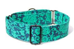 Navy and Teal Floral Martingale Dog Collar 1.5 by TheHuskysTorque