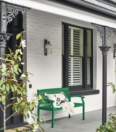 Pair a black and white exterior scheme with a pop of Dulux Green Paw Paw for a bold entrance. Window and Trim in Dulux Domino, walls Dulux… White Exterior Paint, White Exterior Houses, Wall Exterior, Exterior Paint Colors For House, Cottage Exterior, Dulux Exterior Paint, Exterior Design, Dulux Green, Dulux White