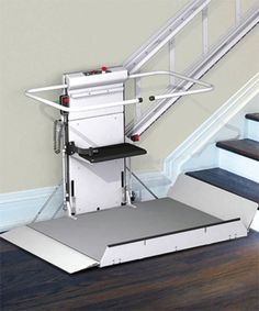 Our Straight Stairway Wheelchair Platform Lift DELTA for wheelchairs and scooters conveniently folds into a compact