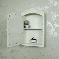 Mirrored Wall Cabinet white wooden mirrored bathroom wall cabinet shabby vintage chic