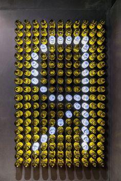 bottle composition panel in wine shop – Wine World Bar Interior Design, Restaurant Interior Design, Signage Design, Cafe Design, Store Design, Deco Restaurant, Restaurant Concept, Wine Bottle Wall, Bottle Art