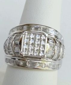 6.20 CTW Princess and Baguette Rhodium over Sterling Silver Wedding Ring .925