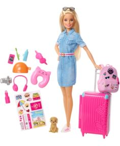 Shop for Barbie dolls and toys and find fab fashions, playsets and fashion dolls. Browse Barbie dolls and toys sparkling with pinktastic fun in the Barbie toys collection including dollhouses, Barbie& Dreamhouse, fashions and doll accessories. Mattel Barbie, Barbie Doll Set, Barbie Doll House, Barbie Dream House, Barbies Dolls, Barbie Doll Stuff, Doll Toys, Dreamhouse Barbie, Pink Suitcase