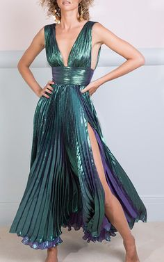 The Merida Plunging Neck Midi Dress by MARIA LUCIA HOHAN for Preorder on Moda Operandi