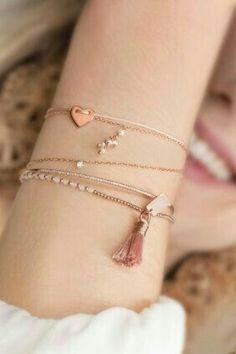 ♬♡ Rose Gold Jewelry, Dainty Jewelry, Cute Jewelry, Body Jewelry, Jewelry Accessories, Jewelry Design, Handmade Jewelry, Jewelry Ideas, Stylish Jewelry
