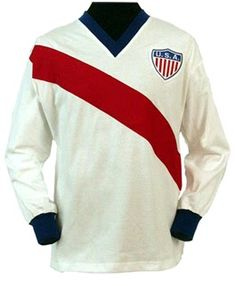 Such a memorable jersey. This is the 1950 World Cup U.S Soccer Jersey. As some of you may know this U.S. team beat the favorite English team 1-0.
