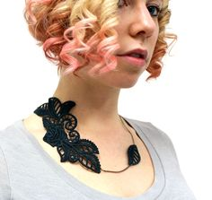 Tutorials   Urban Threads: Unique and Awesome Embroidery Designs Machine Embroidery Applique, Embroidery Patterns, Lace Necklace, Freestanding Lace Embroidery, Steampunk Hairstyles, Urban Threads, Necklace Tutorial, Jewelry Making Tutorials, Embroidery Designs