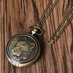 dae5b251dce Brons Antik Wolf Design Quartz Fickur Mäns Brons Hänge Present med Halsband  Relogio De Bolso. Bronze AntigoColar ...