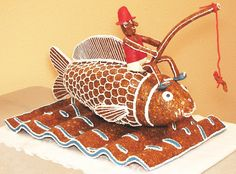 Hal horgásszal / Fish with angler Candy, Fish, Traditional, Decoration, Sweet, Animals, Recipes, Decor, Animales