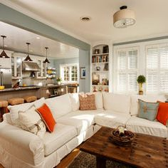 small living room kitchen combo ideas - Layouts For Open Kitchen Living Room Combo Open Kitchen And Living Room, Kitchen Family Rooms, Eclectic Living Room, Home And Living, Living Room Designs, Living Spaces, Small Kitchen Family Room Combo, Kitchen Small, Open Floor Plan Living Room And Dining