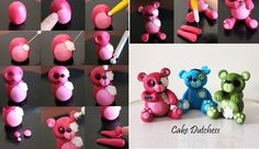 Halloween teddy bear cake toppers tutorial by The Cake Dutchess