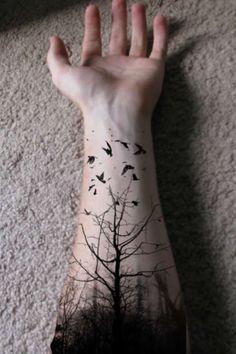 black - tattoo - tatuaje - pino - pine