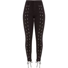 Lynda Black Front Lace Up Skinny Trousers ($44) ❤ liked on Polyvore featuring pants, skinny pants, lace up pants, skinny trousers and lace up trousers