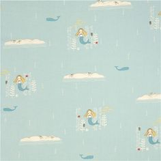 mermaid fabric | light blue birch mermaid organic fabric 2