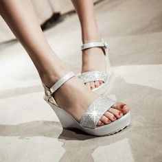 Buy 'JY Shoes – Glittered Wedge Sandals' with Free International Shipping at YesStyle.com. Browse and shop for thousands of Asian fashion items from China and more!