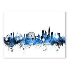 Michael Tompsett Solid-Faced Canvas Print Wall Art Print entitled London England Skyline, None Skyline Painting, Skyline Art, Canvas Wall Art, Wall Art Prints, Canvas Prints, Wall Mural, London England, Fine Art Amerika, Watercolor City