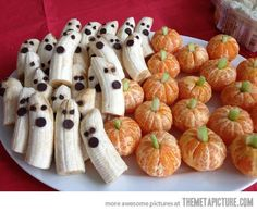 Banana ghosts and clementine pumpkins! #HealthyHalloween