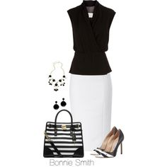 """Black and white work outfit"" by bonnaroosky on Polyvore"