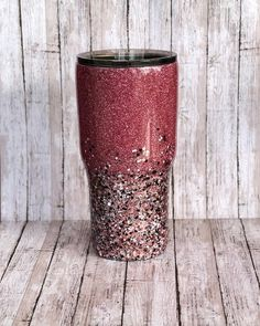 Two Toned Glittered Ombre Stainless Steel Tumbler- Customize -Glitter Tumbler - Personalize - with Straw - Yeti Glittered - two tone custom Diy Tumblers, Custom Tumblers, Glitter Tumblers, Thermos, Tumblr Cup, Glitter Cups, Glitter Vinyl, Glitter Crafts, Yeti Cup