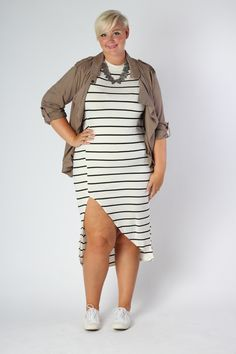 3fbfbae966a7 Plus Size Clothing for Women - Nautical Striped Fitted Dress - Ivory (Sizes  14 -